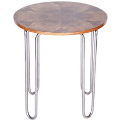 20th Century Restored Rounded Walnut Bauhaus Table, Robert Slezák, Chrome, 1930s