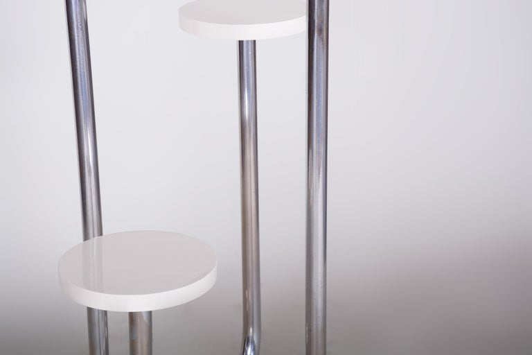 20th Century Restored Unusual Czech Bauhaus Chrome White Flower Pedestal, 1930s For Sale 2