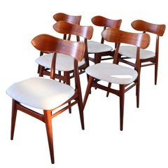 20th Century Reupholstered Teak Dining Chairs by Louis Van Teeffelen for Webe