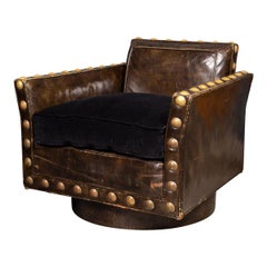 20th Century Revolving Leather Club Chair, Siebe Baker, c.1960