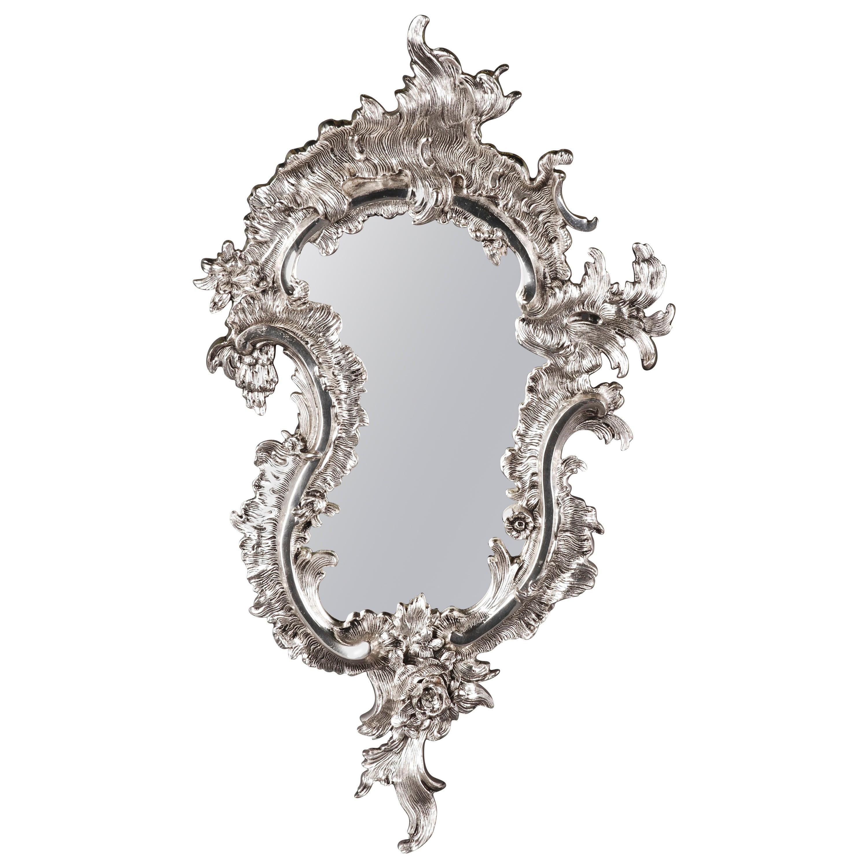 20th Century Rococo Style Silver-Gilded Wall Mirror
