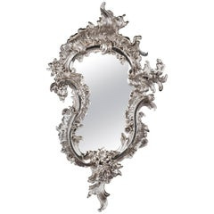 20th Century, Rococo Style Silver-Gilded Wall Mirror