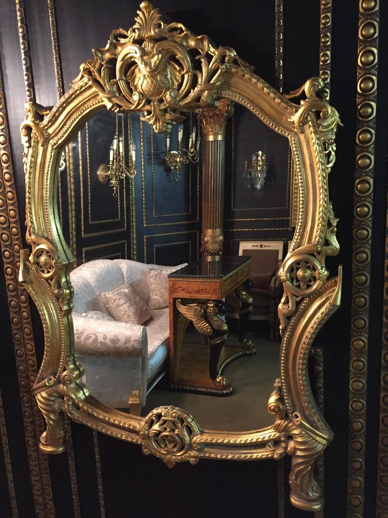 Hand-Carved 20th Century Rococo Wall-Mirror For Sale