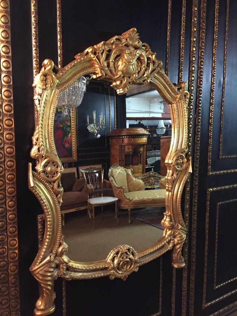 Beech 20th Century Rococo Wall-Mirror For Sale