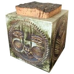 20th Century Roger Capron Vallauris Ceramic Tobacco Recipient, 1970s