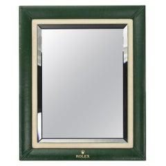 20th Century Rolex Green Leather Bound Display Mirror