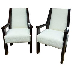 20th Century Rosewood Art Deco Pair of André Sornay Armchair, 1930s