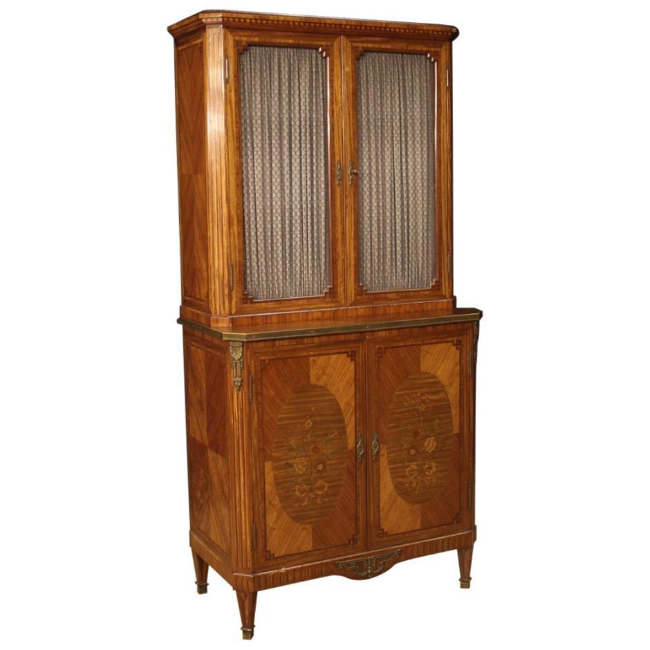 20th Century Rosewood Mahogany Maple Walnut Wood French Bookcase Cabinet, 1920