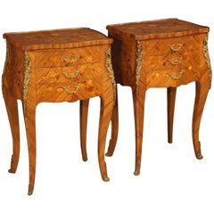20th Century Rosewood, Maple, Boxwood, Mahogany, Inlaid French Bedside Tables