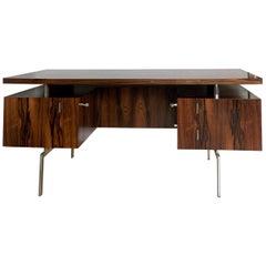 20th Century Rosewood Minimalist Executive Desk, 1960s