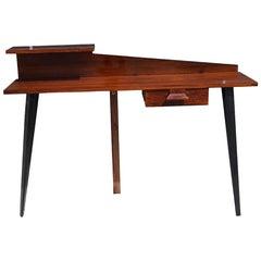 20th Century Rosewood Wall Desk, Italian Writing Wood Table