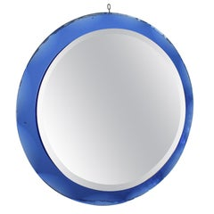 20th Century Round Blue Framed Italian Mirror with Label Metal Vetro Siena, 1974