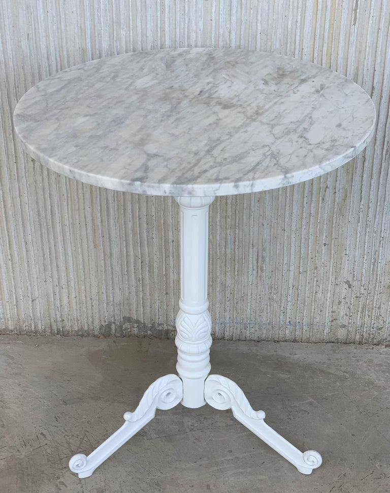 Spanish 20th Century Round Cast Iron Base with Marble Top Garden Table or Bistro Table For Sale