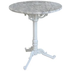 20th Century Round Cast Iron Base with Marble Top Garden Table or Bistro Table