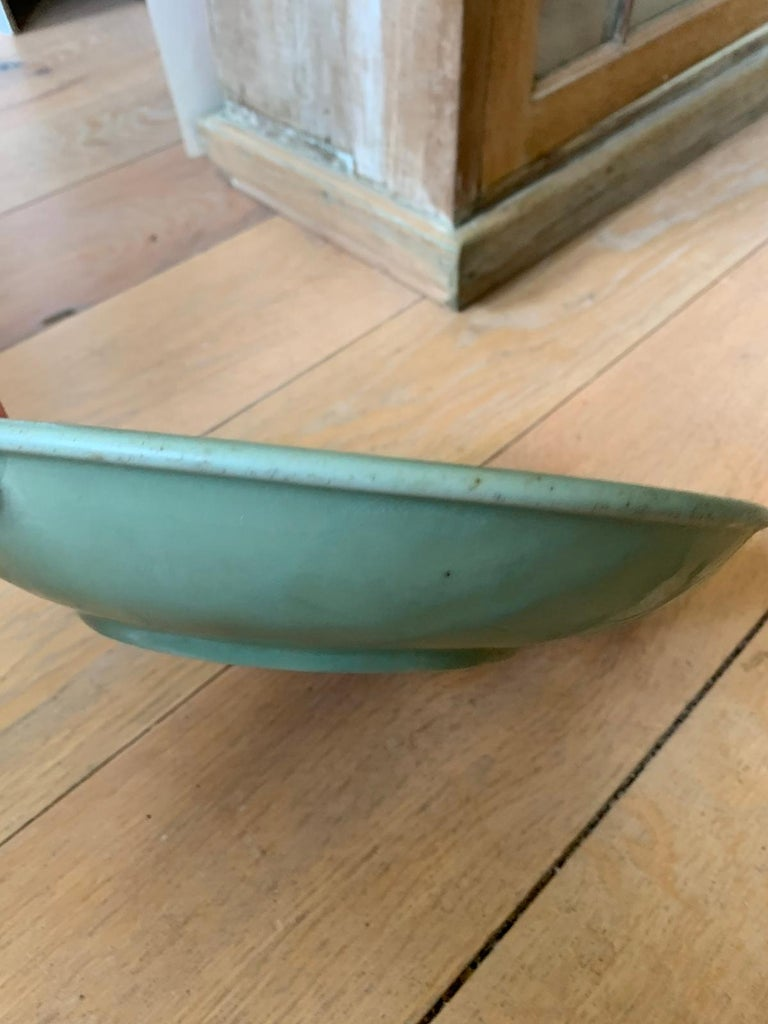 20th Century Round Celadon Glazed Pottery Plate For Sale 4