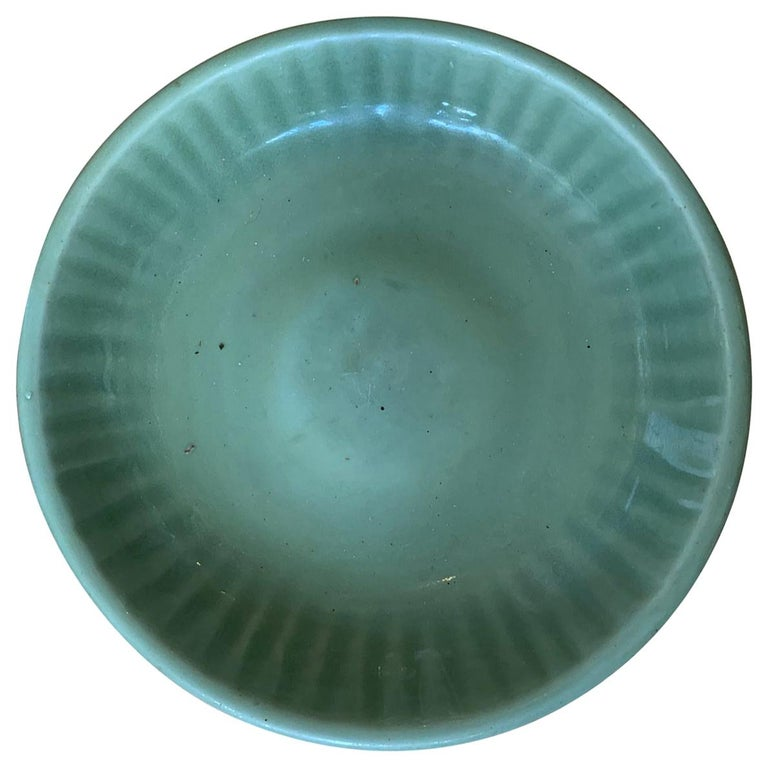 20th Century Round Celadon Glazed Pottery Plate For Sale