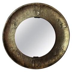 20th Century Round Copper Mirror by Angelo Bragalini