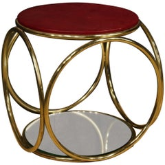 20th Century Round Gilt Brass Italian Design Side Table, 1970