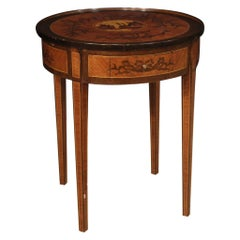 20th Century Round Inlaid Wood Italian Louis XVI Style Side Table, 1960