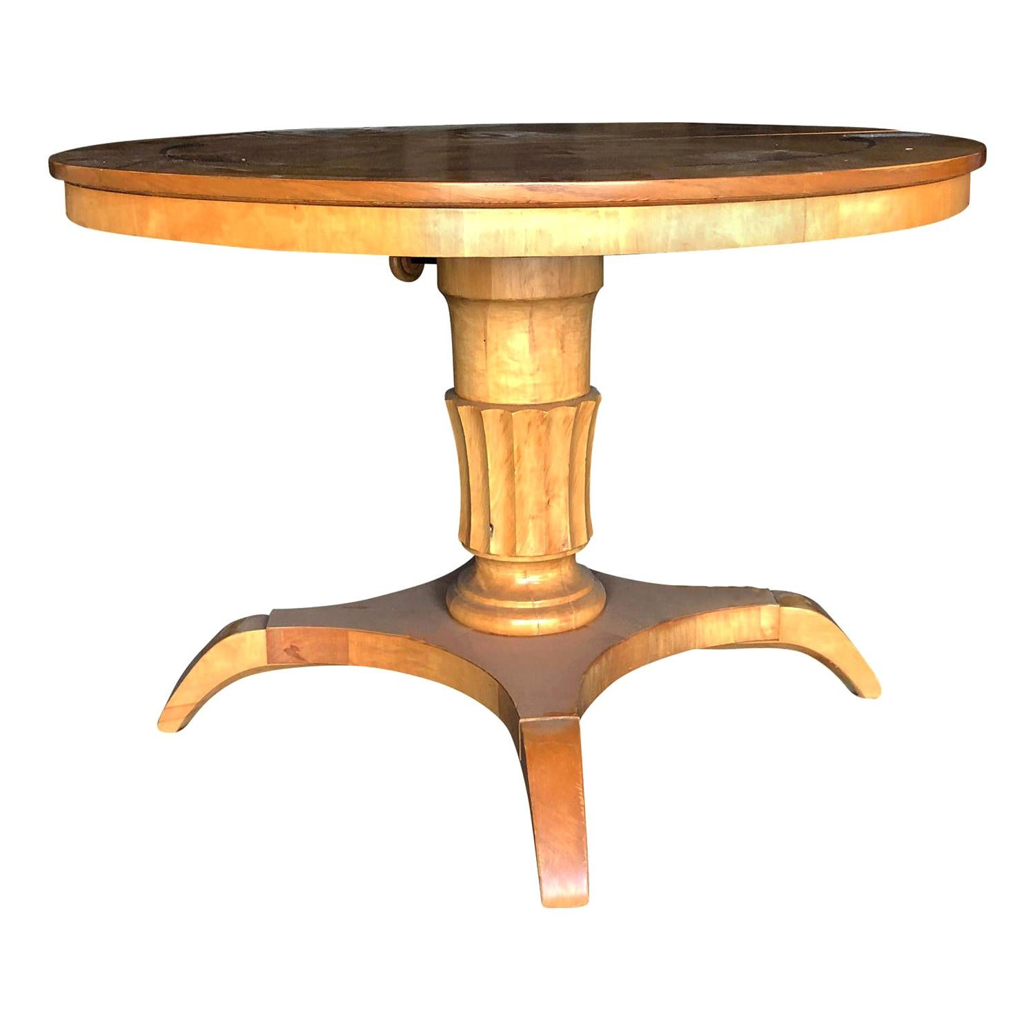 20th Century Round Pedestal Table, Swedish Birchwood Coffee Table