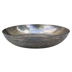 20th Century Round Silvered Dish, Unmarked
