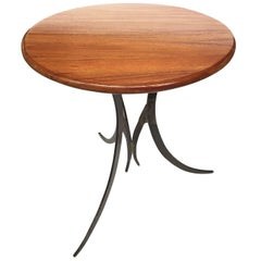 20th Century Round Teak and Iron Custom-Made Side Table