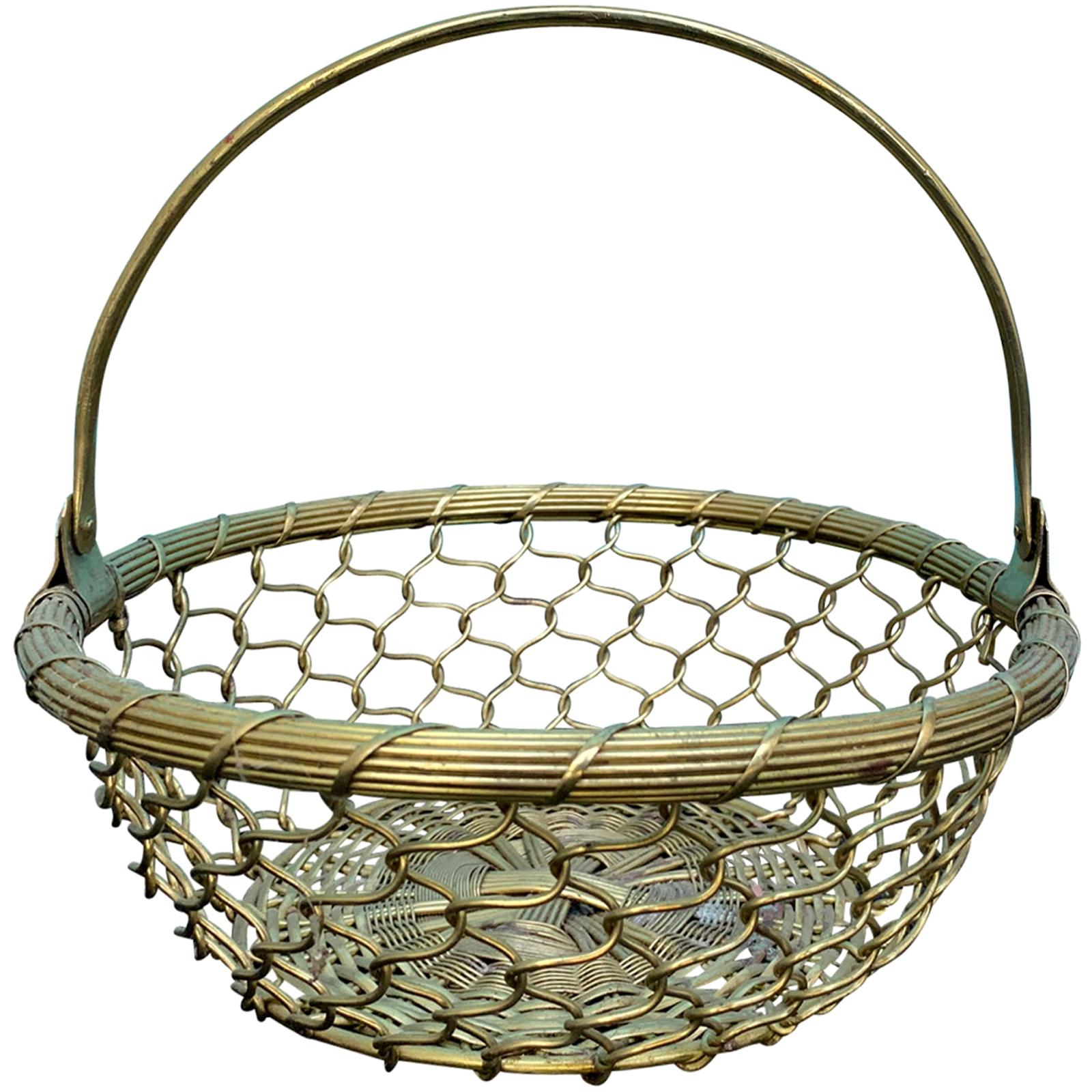 20th Century Round Woven Basket with Handle