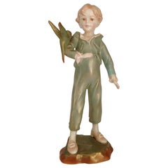 20th Century Royal Worcester Boy with Parakeet Figurine