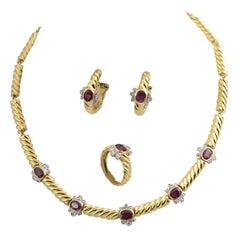 20th Century Ruby Diamond Gold Parure