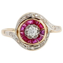 20th Century Ruby Diamonds 18 Karat Yellow Gold Swirl Ring