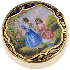 20th Century Russian 14-Karat Gold and Enamel Pill Box, Moscow, circa 1900