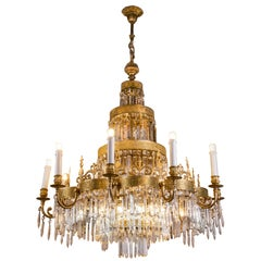 20th Century Russian Crystal and Ormolu Chandelier Fifteen-Light Pendant
