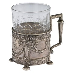 20th Century Russian Empire Silver and Cut Glass Tea Holder, Lorie, circa 1910