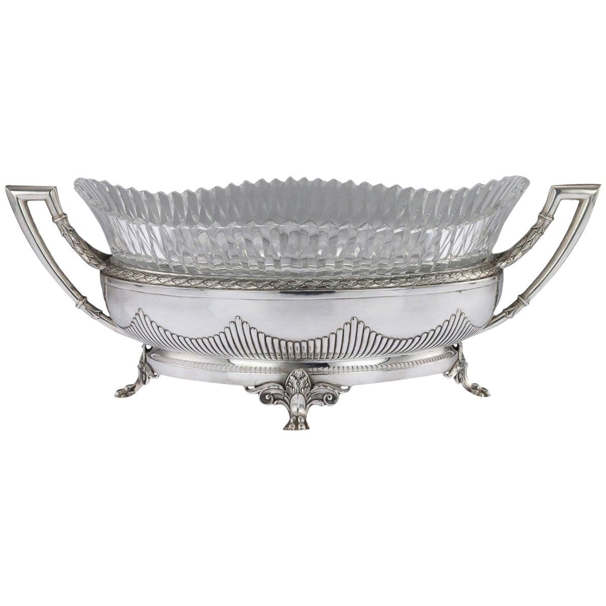 20th Century Russian Empire Solid Silver and Glass Jardinière, Bolin, circa 1910