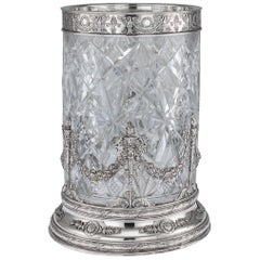 20th Century Russian Empire Solid Silver & Cut Glass Vase Khlebnikov, circa 1910