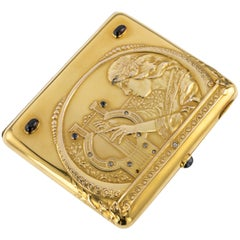 20th Century Russian Faberge 14K Gold and Gem Set Cigarette Case