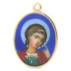 20th Century Russian Faberge Gold & Painted Enamel Saint-George Pendant, c. 1900