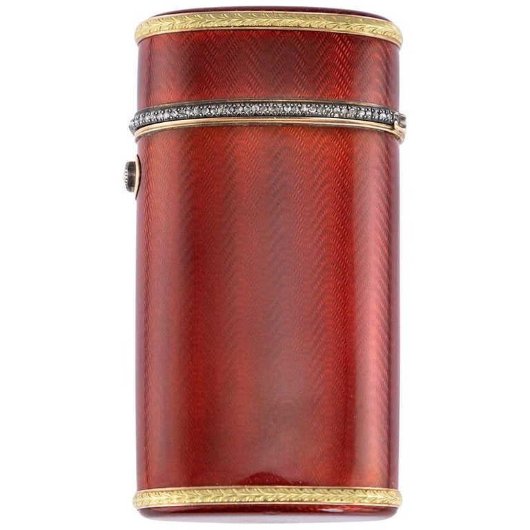 20th Century Russian Faberge Silver, Gold and Enamel Cigarette Case, circa 1900 For Sale