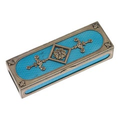 20th Century Russian Faberge Solid Silver & Guilloche Enamel Stamp Box c.1900
