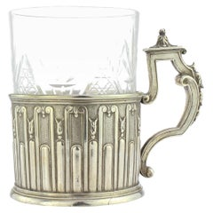 20th Century Russian Faberge Solid Silver Tea Glass Holder, Moscow, circa 1900