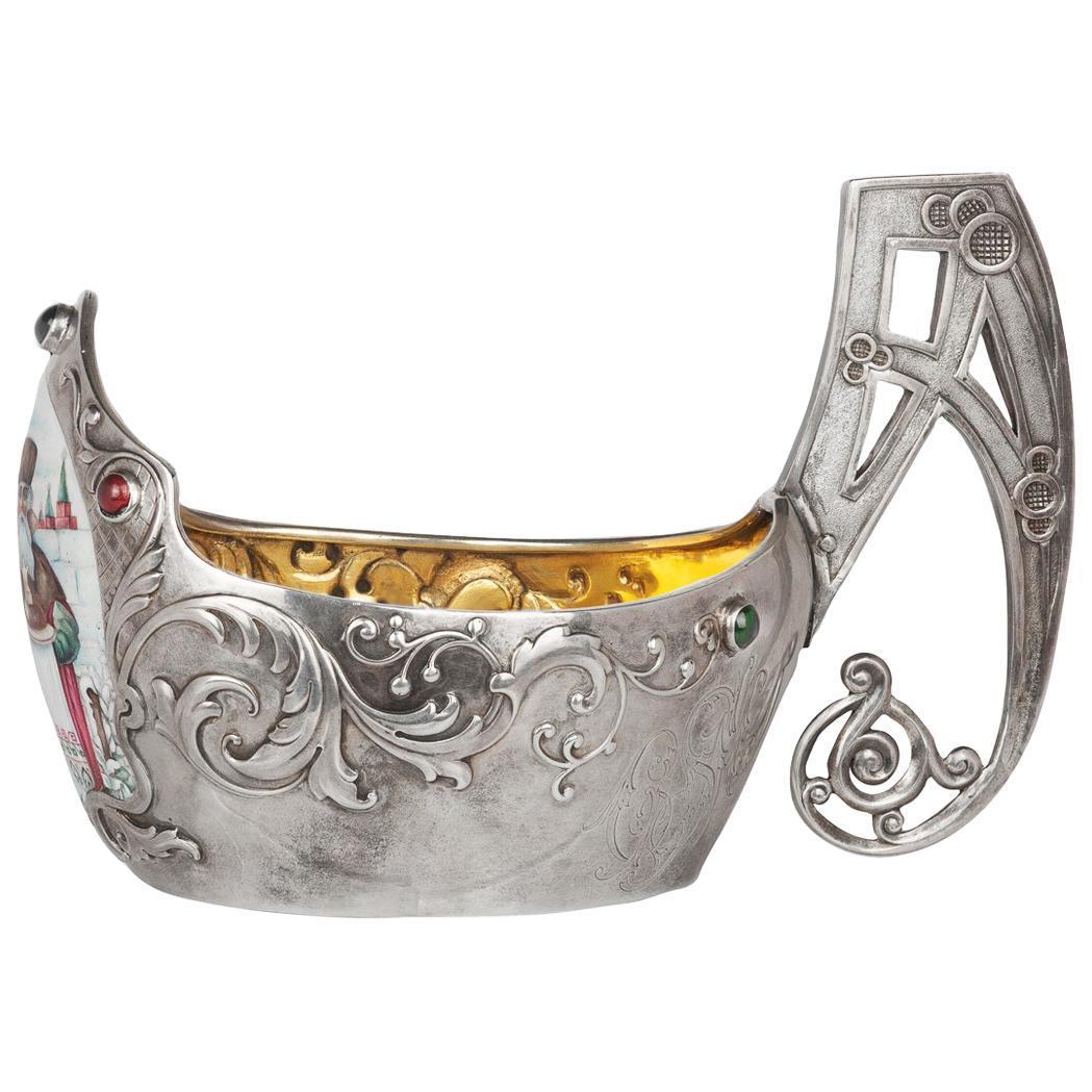20th Century Russian Gem-Set Solid Silver & Enamel Kovsh, Kurlyukov, circa 1900