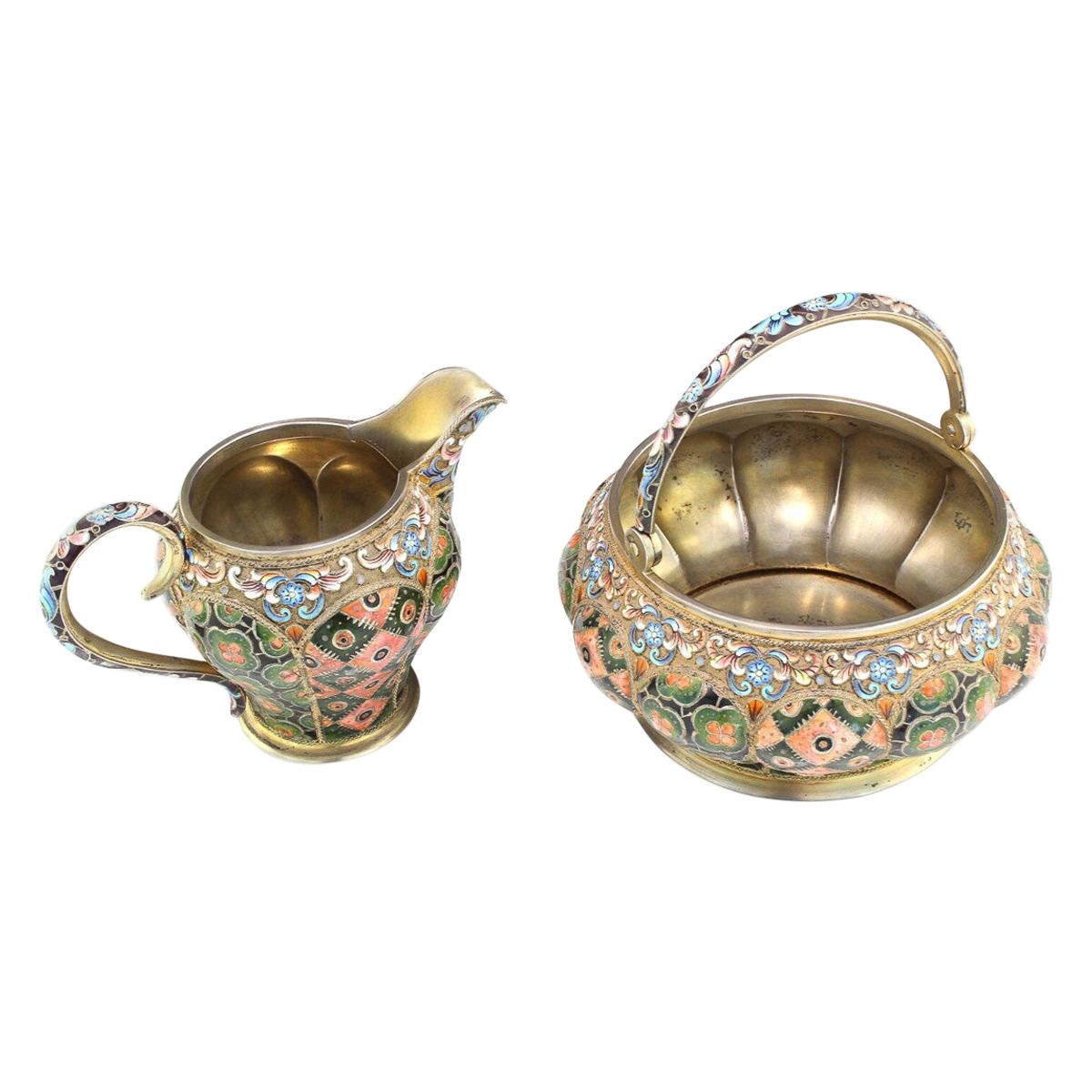 20th Century Russian Silver & Enamel Sugar Bowl & Cream Jug, 6th Artel, c.1910