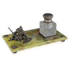 20th Century Russian Silver-Mounted on Green Marble Inkstand, circa 1900