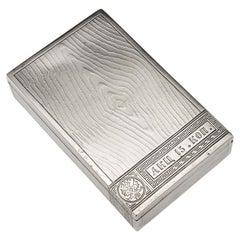 20th Century Russian Silver Trompe L'oeil Cigar Box, Ovchinnikov