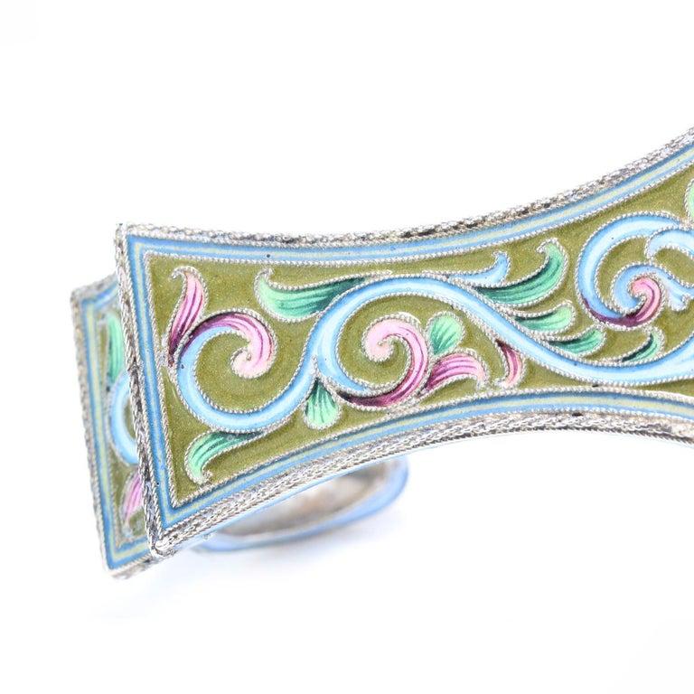 20th Century Russian Solid Silver & Shaded Enamel Kovsh, Maria Semenova, c.1910 For Sale 6