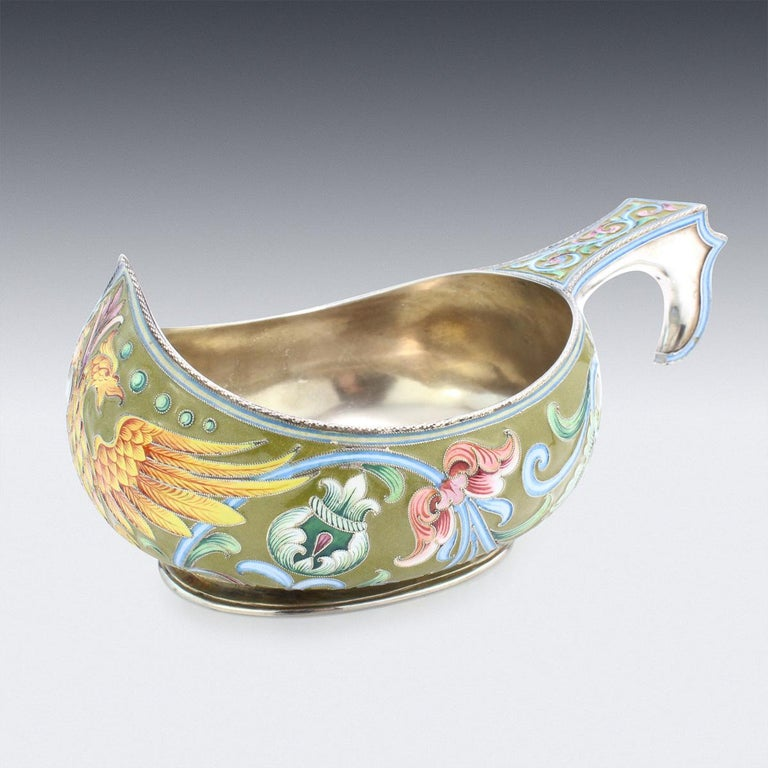 Antique early 20th century Imperial Russian solid silver & shaded cloisonne' enamel Kovsh, of traditional oval form, with raised prow and hook handle, the body beautifully decorated with various shaded polychrome cloisonne' enamel with stylised