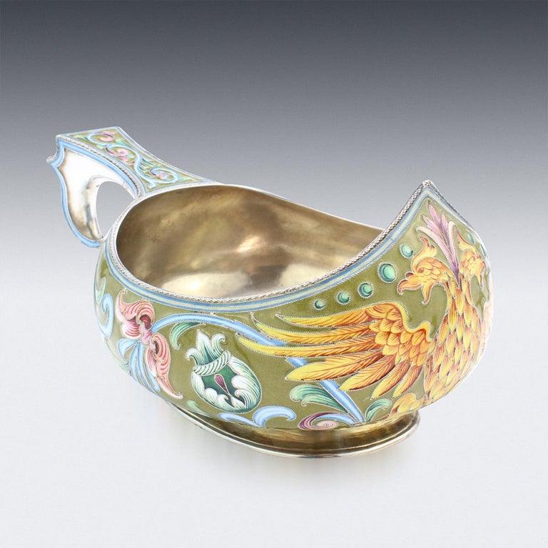 Cloissoné 20th Century Russian Solid Silver & Shaded Enamel Kovsh, Maria Semenova, c.1910 For Sale
