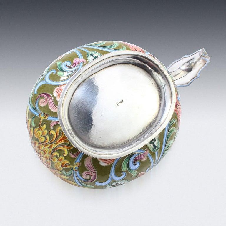 20th Century Russian Solid Silver & Shaded Enamel Kovsh, Maria Semenova, c.1910 In Good Condition For Sale In Royal Tunbridge Wells, Kent