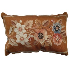 20th Century French Aubusson Tapestry Style Needlepoint Lumbar Pillow Case
