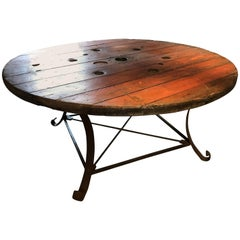 20th Century Rustic Industrial Circular Oak Table